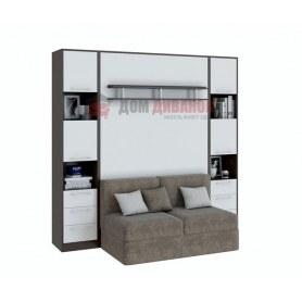 Кровать-шкаф с диваном Бела 1, с полкой ножкой, 1600х2000, венге/белый
