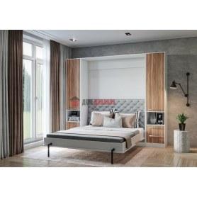 Кровать-шкаф Любава, 1600х2000 (Орех мармара/Белоснежный офис)