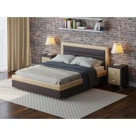 Кровать с подъемным механизмом Life box 2, 160х200, экокожа коричневый с кремовым