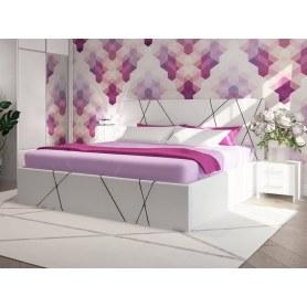 Кровать с подъемным механизмом Roza, 180х200, Экокожа белая, ткань Лофти Кофейный