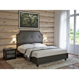 Кровать Richard, 180х200, Ткань Лофти Кофейный/массив Венге матовый