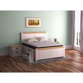 Кровать Woodstone, 200х200, сосна, белая эмаль/антик
