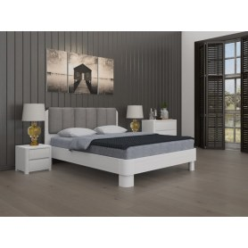 Кровать Wood Home 2, 160х200, Белая эмаль сосна/Велюр Лофти Серый