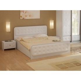 Кровать с подъемным механизмом Неро, 180х200, ЛДСП белый, экокожа белая