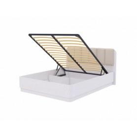 Кровать с подъемным механизмом Wood Home 2, 200х200, Белая эмаль сосна/Лофти лен