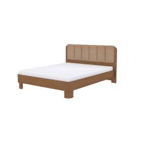 Кровать Wood Home 2, 160х200, Антик сосна/Велюр Лофти Бежевый