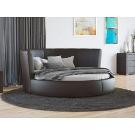 Круглая кровать Luna, 200х200, экокожа коричневая