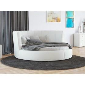 Круглая кровать Luna, 200х200, экокожа белая
