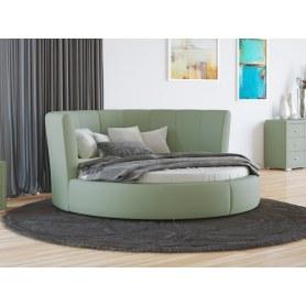 Круглая кровать Luna, 200х200, экокожа олива