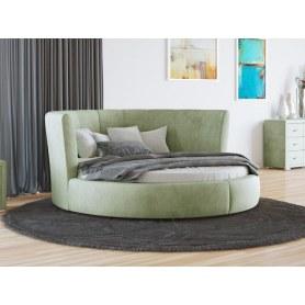Круглая кровать Luna, 200х200, велюр лофти олива